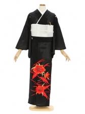 留袖(絽)17赤カトレア刺繍