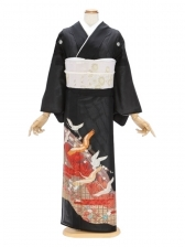 留袖(絽)50金箔に鶴 若松