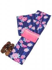 浴衣 女性 紺色/バラ Y036