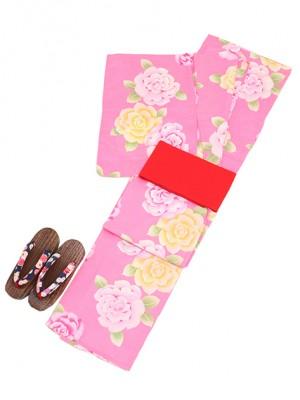 ピンク/バラ Y008 浴衣 女性