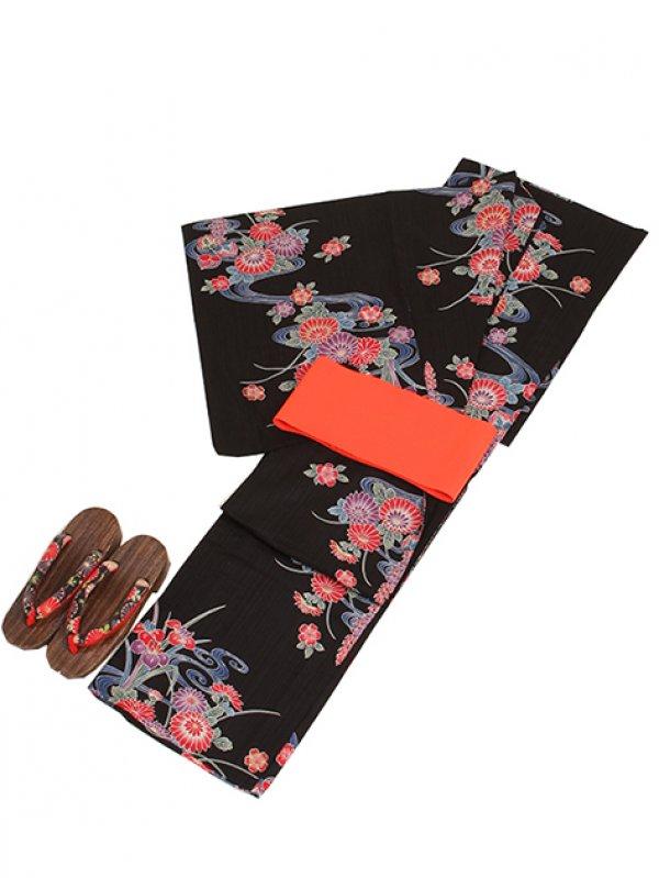 黒色/菊流水 Y027 浴衣 女性