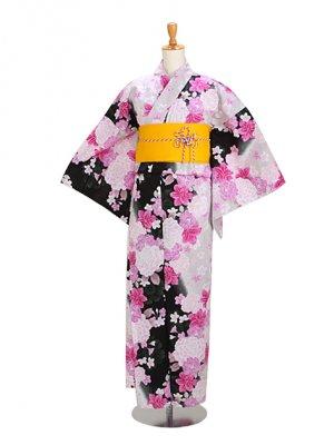 黒ピンク/ゆり 花柄 Y038 浴衣 女性