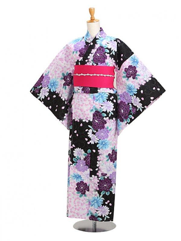 黒紫/ぼたん 花柄 Y039 浴衣 女性