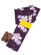 浴衣 女性 紫/桜 Y006