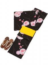 浴衣 女性 黒色/桜 マリ Y014