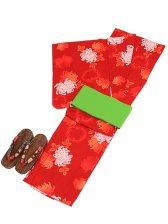 浴衣 女性 朱赤/菊 Y025