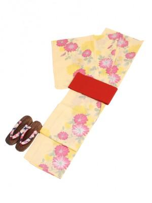 薄黄色/花 Y029 浴衣 女性