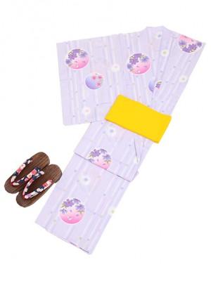 パープル/丸花 Y001 浴衣 女性