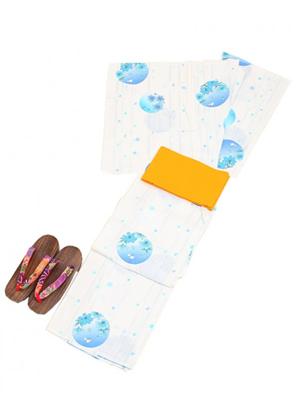 白地に水色/水玉&花 Y010 浴衣 女性