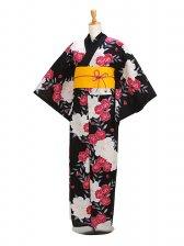 浴衣 女性 黒ローズ/桜 Y040