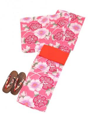ピンク/花 Y005 浴衣 女性