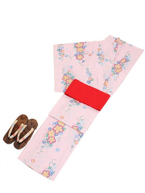 薄ピンク色/花 Y028 浴衣 女性