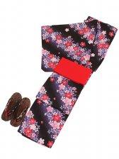 浴衣 女性 黒色/桜 Y024