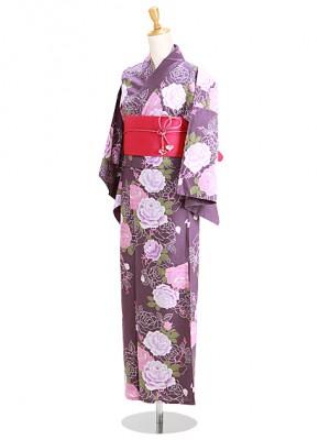 紫色/バラ Y053 浴衣 女性