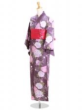 浴衣 女性 紫色/バラ Y053