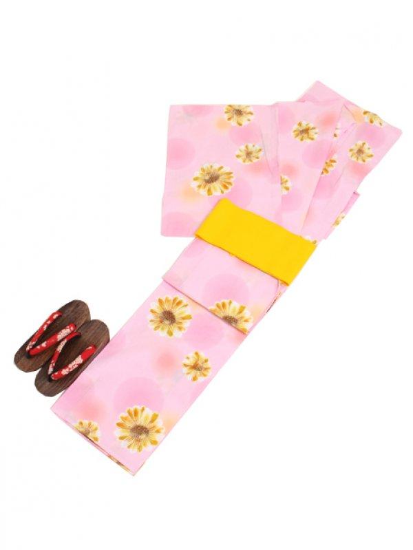薄ピンク色/ひまわり Y030 浴衣 女性