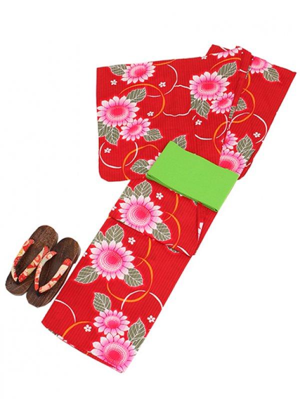 赤/ひまわり Y007 浴衣 女性