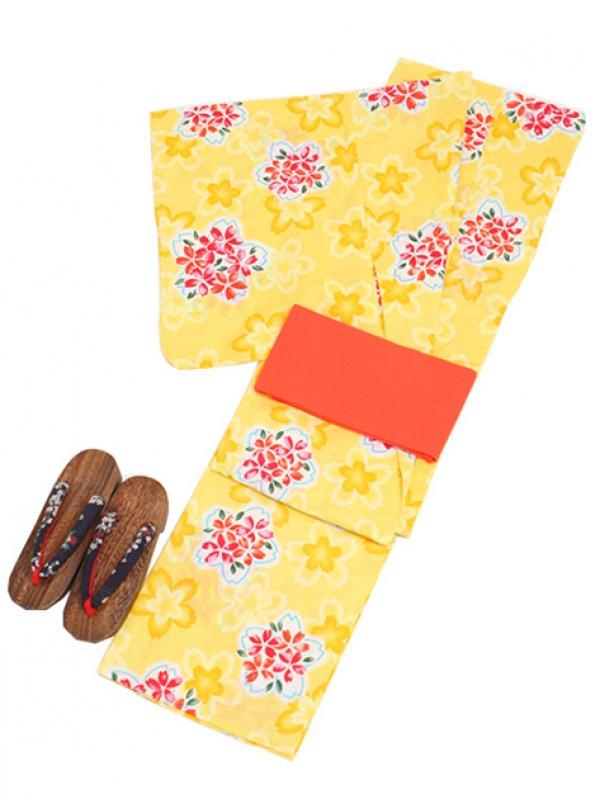 黄色/桜 Y012 浴衣 女性