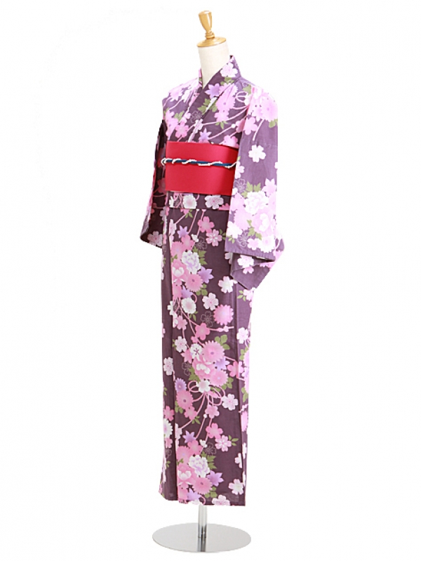 紫色/ピンク花 Y054 浴衣 女性