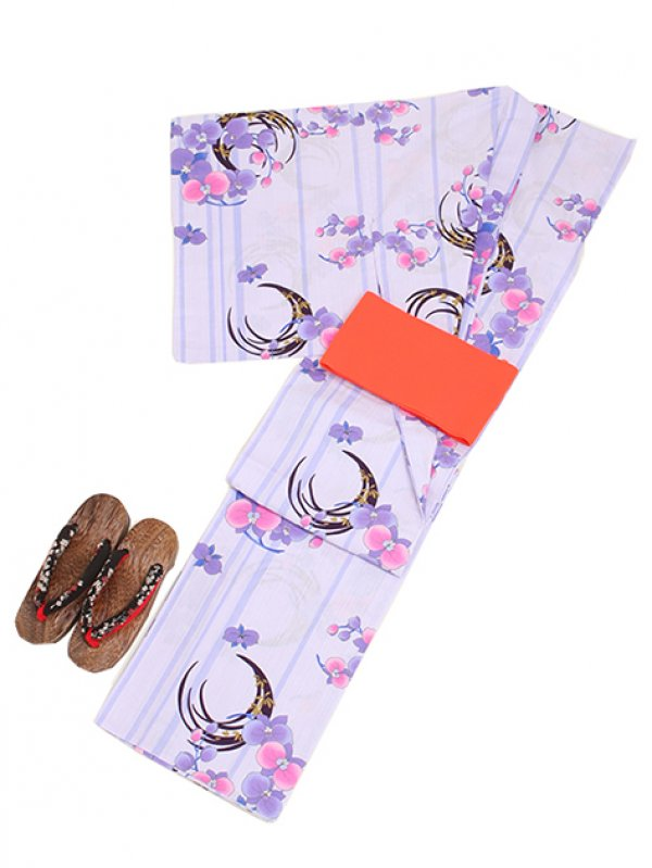 パープル/蘭 Y002 浴衣 女性