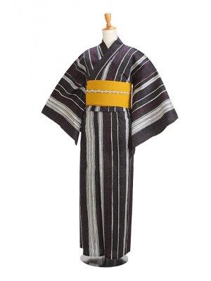 黒/粋 縞 Y044 浴衣 女性