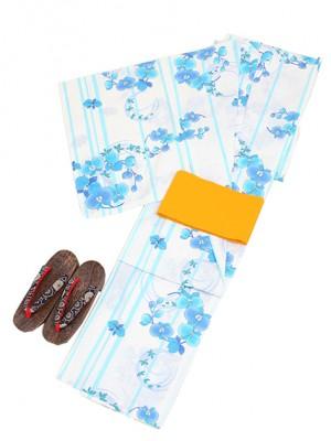 白地に水色/花 Y011 浴衣 女性