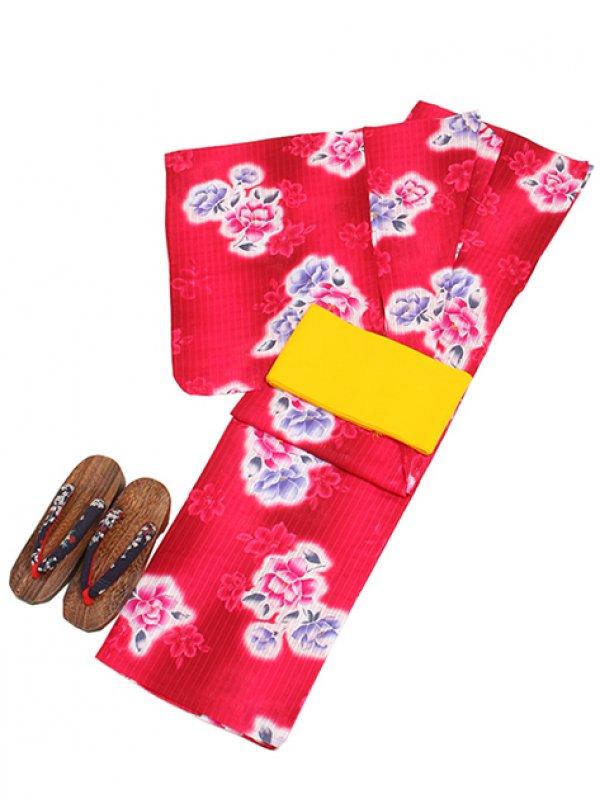 濃ピンク色/花 Y020 浴衣 女性