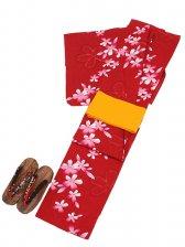 浴衣 女性 赤色/桜 Y017