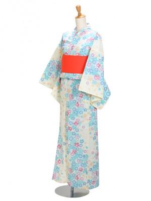 クリーム/ブルー桜 Y052 浴衣 女性