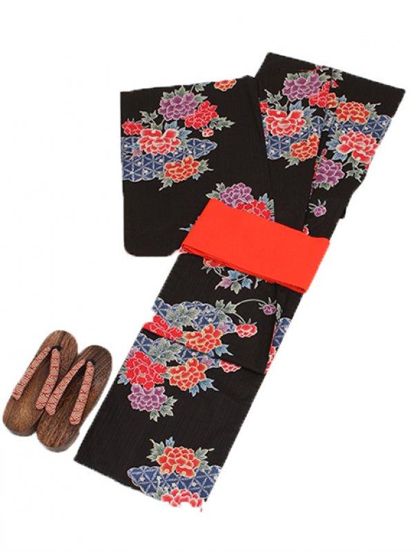 黒色/花 Y021 浴衣 女性