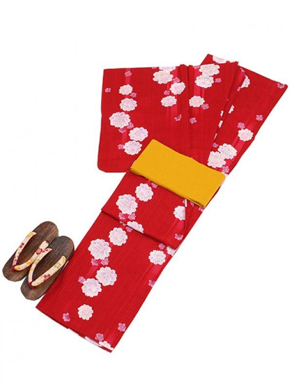 赤色/花 Y016 浴衣 女性