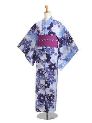 ブルー/バラ 蝶 Y037 浴衣 女性
