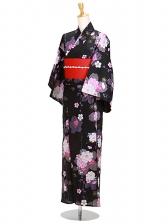 浴衣 女性 黒色/八重桜ラメピンク Y055