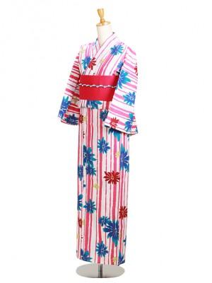 白色/ストライプ花モダン Y058 浴衣 女性