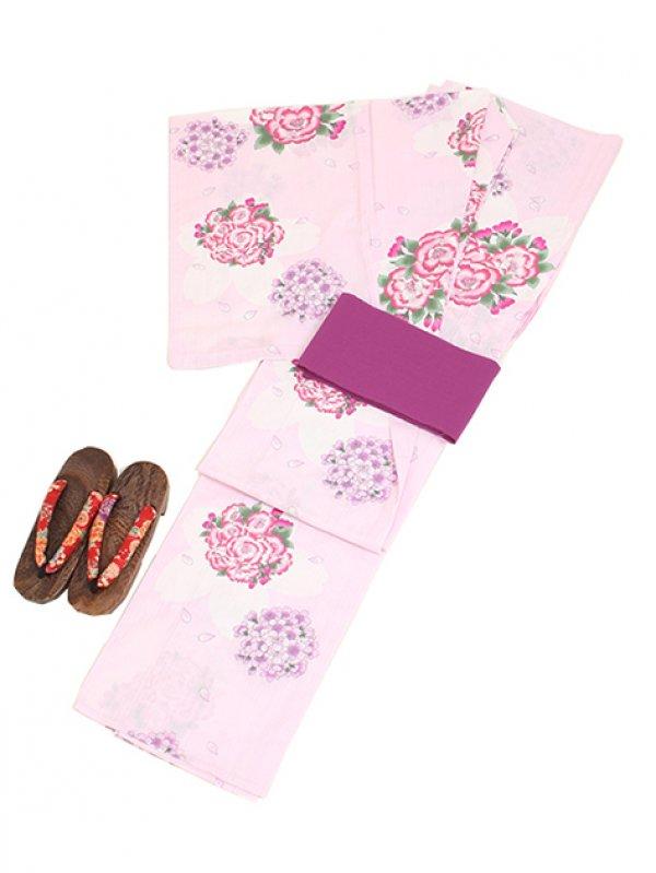 薄ピンク/桜 Y004 浴衣 女性