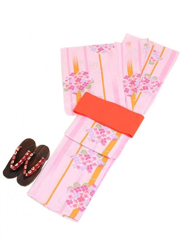 薄ピンク色/あじさい Y022 浴衣 女性