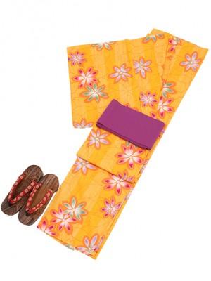 黄色/花 Y019 浴衣 女性