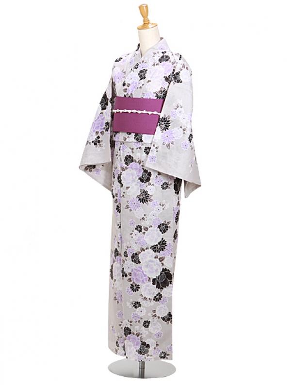 うすグレー/紫花 Y049 浴衣 女性