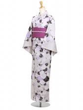 浴衣 女性 うすグレー/紫花 Y049