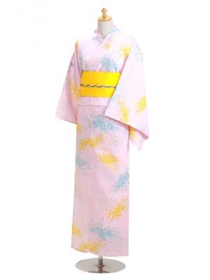 ピンク色/黄・ブルーモダン柄 Y059 浴衣 女性