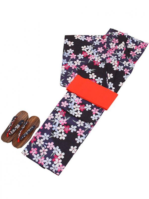 紺色/桜 Y015 浴衣 女性