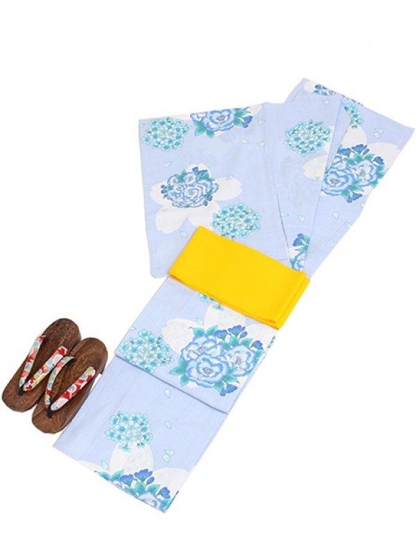 水色/桜&花 Y023 浴衣 女性