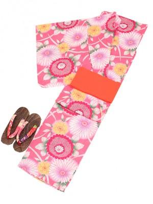 ピンク/大輪の花 Y009 浴衣 女性
