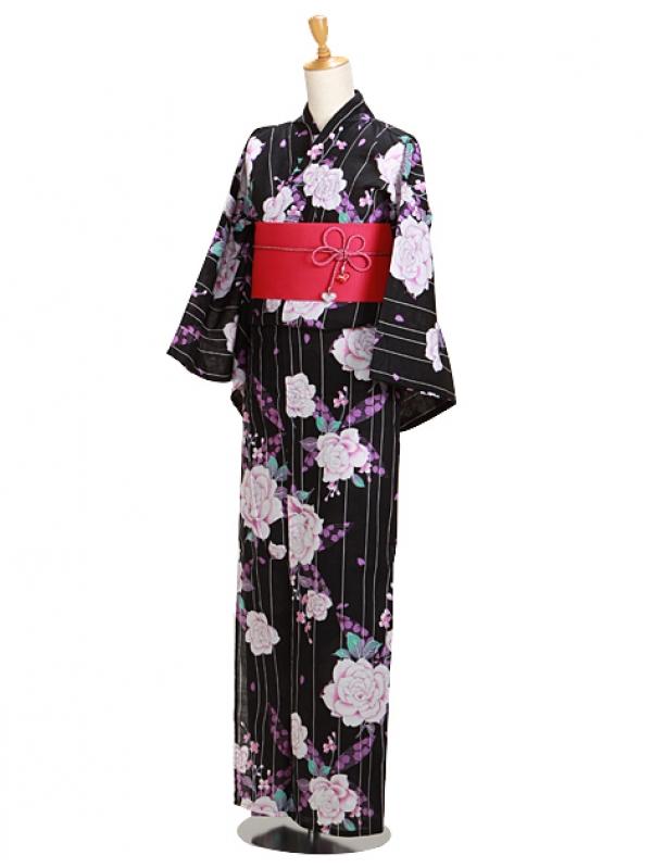 黒色/紫ラメバラ Y056 浴衣 女性