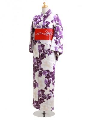白芍薬 紫の葉 Y060 浴衣 女性
