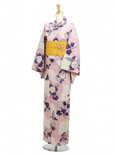 浴衣 女性 ベージュピンク/トルコ桔梗 Y047
