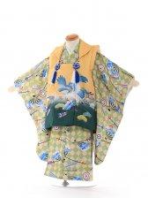 3歳男児 被布 花うさぎ 黄緑 3075