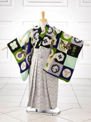 男児卒園袴 0812 ジャパンスタイル グリーン柄×白模様袴