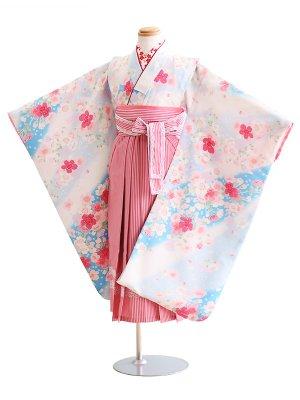 女児袴(7女)034水色/花|ピンク/ストライプ・ぼかし ひさかたろまん