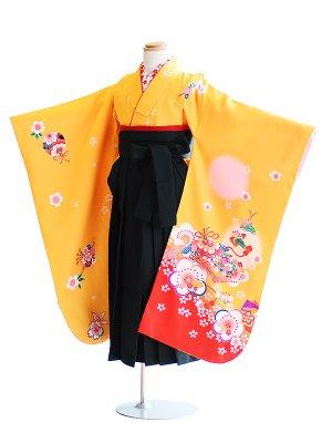女児袴(7女)2-g黄/鞠・梅|緑/無地